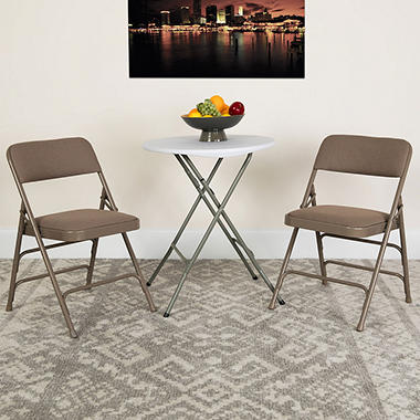 Charmant Hercules Fabric Metal Folding Chairs, Beige