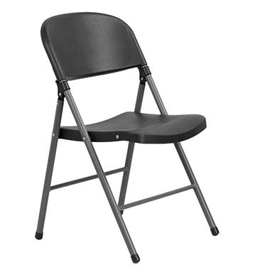 Flash Furniture   Heavy Duty Black Plastic Folding Chair   24 Pack