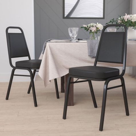 Flash Furniture Vinyl Banquet Stack Chair, Black (Select Quantity)