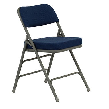 "OFFLINE Hercules 1"" Padded Metal Folding Chairs, Navy"