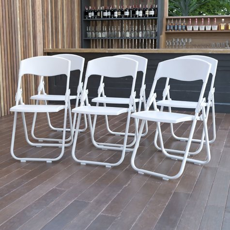 Hercules Heavy-Duty Plastic Folding Chair, White