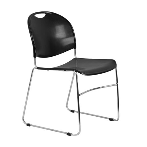 Flash Furniture Stacking Chair with Chrome Frame - Black