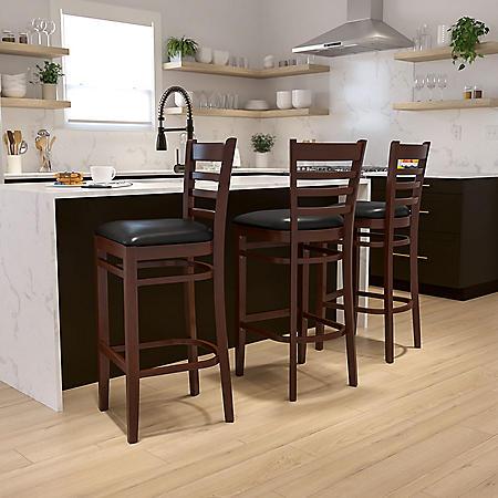 Hospitality Stool Mahogany Wood - Ladder Back - Black Vinyl Upholstered Seat - 1 Pack