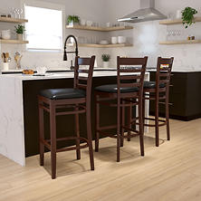 Hospitality Stool Mahogany Wood - Ladder Back - Black Vinyl Upholstered Seat - 1 Pack