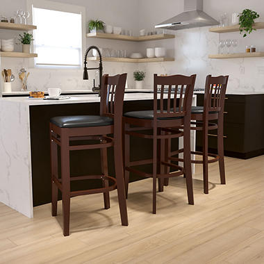 Hospitality Stool Mahogany Wood - Vertical Slat Back - Black Vinyl Upholstered Seat - 1 Pack