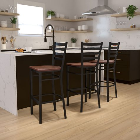 Hospitality Stool Black Metal - Ladder Back - Cherry Finished Wood Seat - 1 Pack