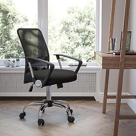 Flash Furniture Mid-Back Mesh Computer Chair, Black