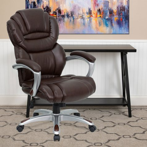 Flash Furniture High-Back Leather Executive Office Chair, Brown