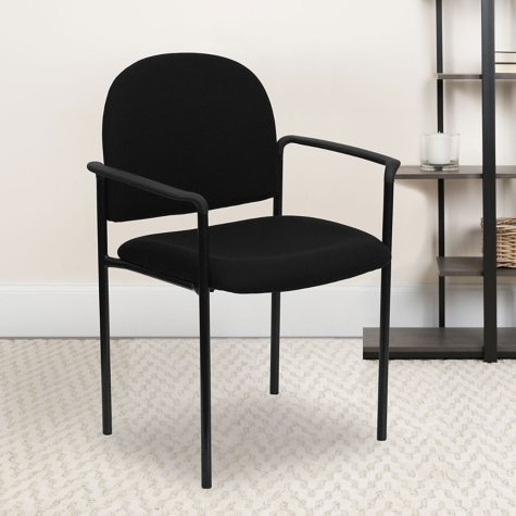 Hercules Fabric Steel Side Stacking Chair with Arms - Black