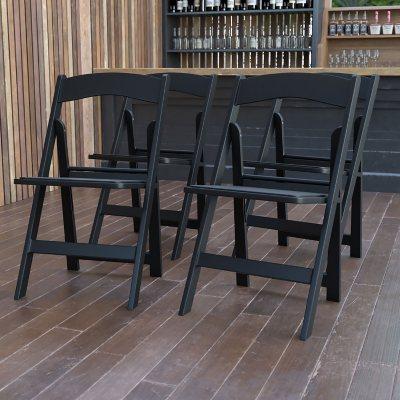 Hercules Resin Folding Chair, Black