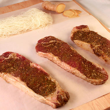 Steakhouse Certified Asian BBQ New York Strip Steaks - 8 oz. - 8 ct. case
