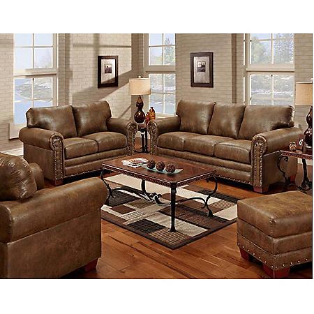 Buckskin Nailhead Living Room 4-Piece Set