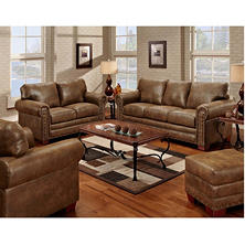 Buckskin Nailhead Living Room Set   4 Pc.