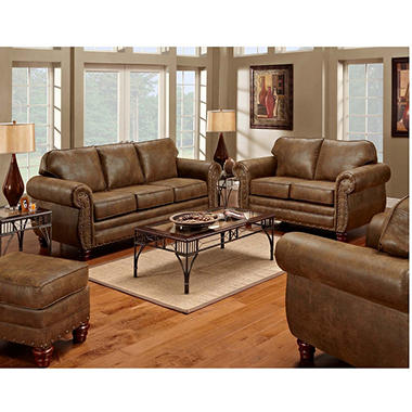 Sedona Nailhead Living Room Set - 4 pc. - Sam\'s Club