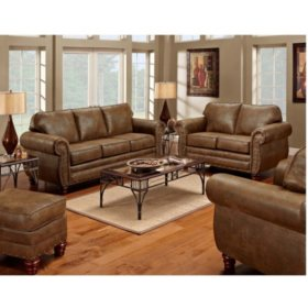 Sedona Nailhead Living Room Set 4 Pc