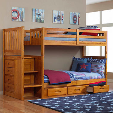 Staircase Bunk Bed Honey Finish Sam S Club