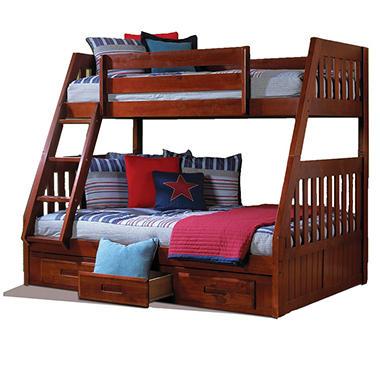 twinfull bunk bed merlot