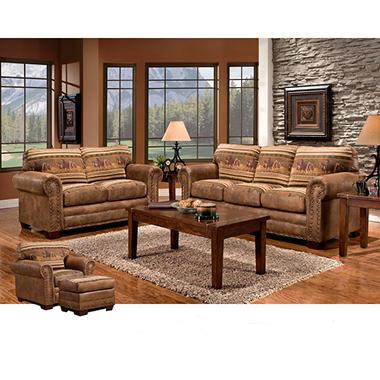 wild horses sleeper sofa loveseat chair and ottoman 4piece set