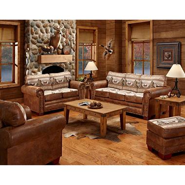 Alpine Lodge Sleeper Sofa Loveseat Chair And Ottoman 4 Piece Set