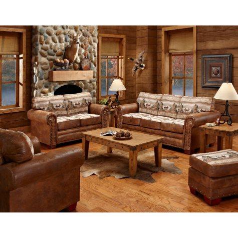 Alpine Lodge Sleeper Sofa, Loveseat, Chair and Ottoman, 4-Piece Set