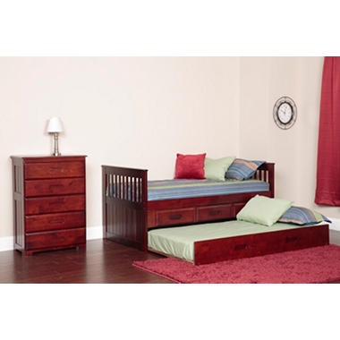 Twin Rake Bed with 5 Drawer Chest (Various Colors)