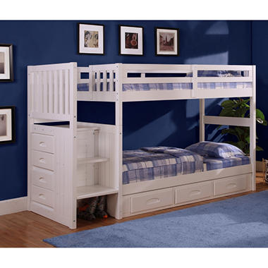 Staircase Bunk Bed - White Finish