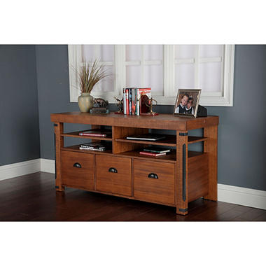 American Furniture Classics Industrial Collection Credenza Console With Three Large File Drawers