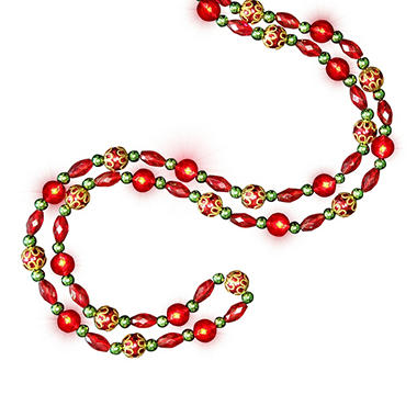 LED Red Beaded 9 ft. Garland - 2 pk.