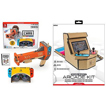 Nintendo Labo Starter Kit + VR Blaster & Nyko PixelQuest Arcade Kit for Switch