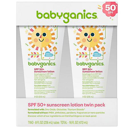 Babyganics SPF 50+ Sunscreen Lotion (8 fl. oz., 2 pk.)