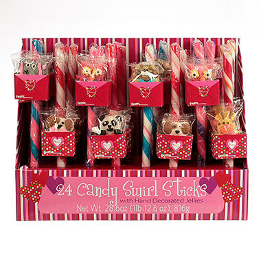 24 Count Decorated Valentine Candy Sticks and Lollipops