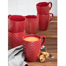 Ceramic Textured Mugs, Set of 6 (Assorted Colors)