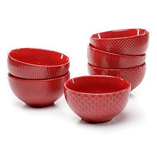 Ceramic Textured Bowls, Set of 6 (Assorted Colors)
