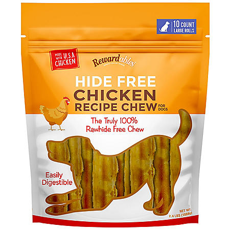 Rewardables Hide Free Chicken Chews for Dogs, 10 ct. Large Rolls