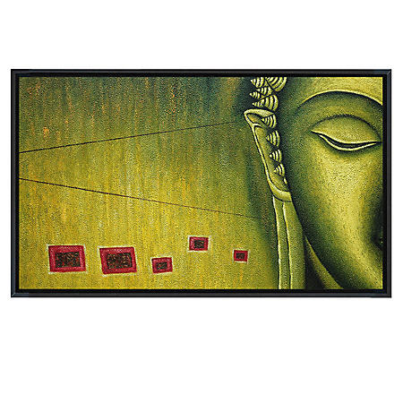"Framed Hand-Painted Oil Art ""Buddha"""