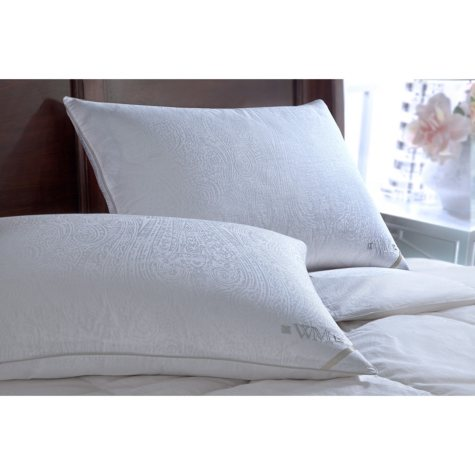 Wesley Mancini 300-Thread-Count Yarn-Dyed Goose Down Pillow, Firm