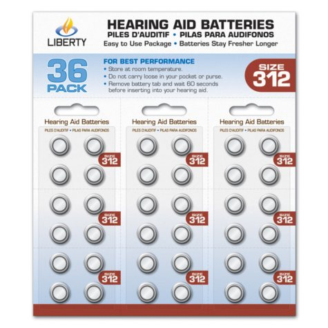 Liberty Hearing Aid Batteries:  Size 312