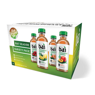Bai Supertea Variety Pack, Antioxidant Infused Beverages (18 fl. oz. bottles, 15 pk.)