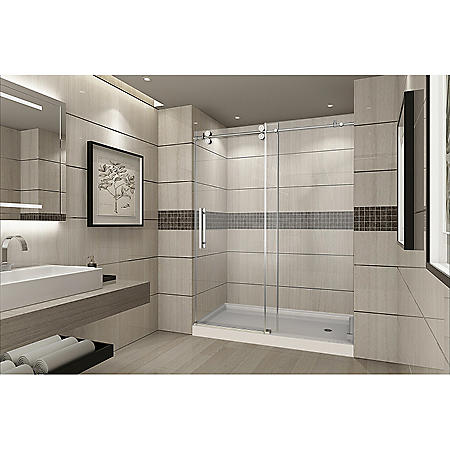 Aston Warwick Sliding Shower Door with Right Base (Stainless Steel Finish)
