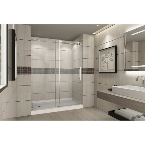 Aston Warwick Sliding Shower Door with Center Base (Chrome Finish)