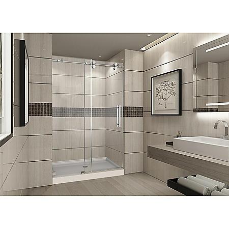 Aston Warwick Sliding Shower Door with Center Base (Chrome Finish)
