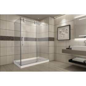 Aston Warwick Sliding Shower Enclosure with Right Base (Stainless Steel Finish)