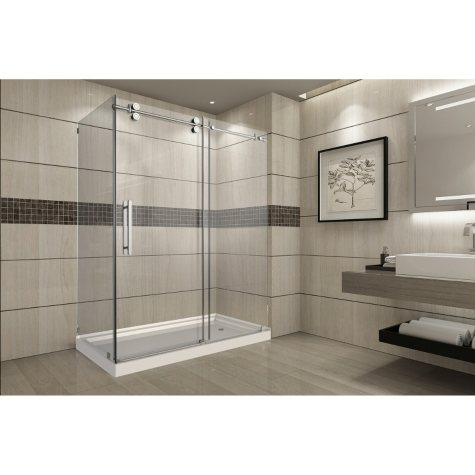 Aston Warwick Sliding Shower Enclosure with Right Base (Chrome Finish)