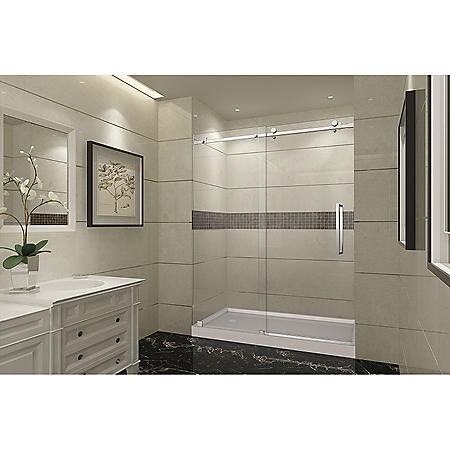 Aston Miramar Sliding Shower Door with Center Base (Stainless-Steel Finish)