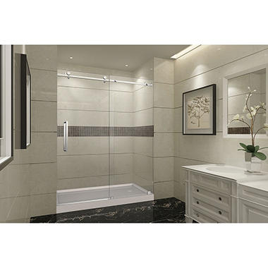 Aston Miramar Sliding Shower Door with Right Base (Stainless-Steel Finish)