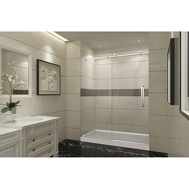 Aston Miramar Sliding Shower Door with Center Base (Chrome Finish)