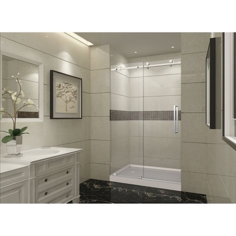Aston Miramar Sliding Shower Door with Center Base (Stainless-Steel Finish)