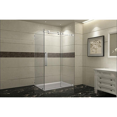 Aston Miramar Sliding Shower Enclosure with Right Base (Chrome Finish)