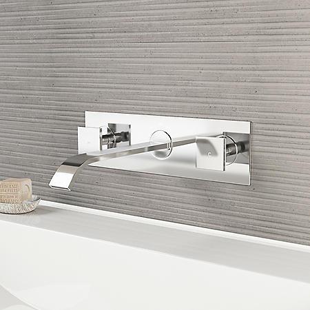 VIGO Titus Chrome Finish Dual Lever Wall Mount Faucet