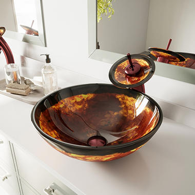 VIGO Auburn/Mocha Fusion Glass Vessel Bathroom Sink